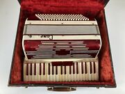 Vintage Camerano Mother Of Pearl Red Accordian 41 Keys And 120 Buttons With Case