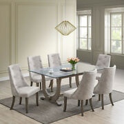 Kings Brand - Elmer 7 Piece Glass Top Dining Set, Table And 6 Chairs, Gray/silver