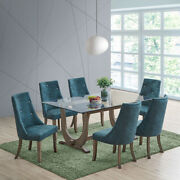 Kings Brand - Elmer 7 Piece Glass Top Dining Set, Table And 6 Chairs, Gray/blue