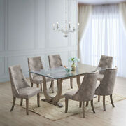 Kings Brand Furniture - Elmer 7 Piece Glass Dining Set, Table And 6 Chairs, Gray