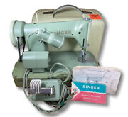 Vtg Green Singer 185k Sewing Machine In Case W/ Foot Pedal Attachments Scotland