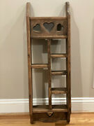 Vintage Solid Wood Knick Knack Hanging Display Wall Shelf/with Cut Out Hearts