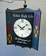 Miller High Life Beer Motion Spinning Lighted 3 Sided Clock Bar Light Lamp 60and039s