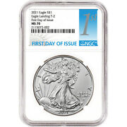 2021 American Silver Eagle Type 2 - Ngc Ms70 First Day Of Issue 1st Label