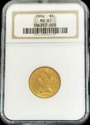 1904 Gold United States 5 Dollar Liberty Head Half Eagle Coin Ngc Mint State 63