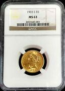 1903 S Gold United States 5 Liberty Head Half Eagle Coin Ngc Mint State 63