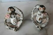 Vintage 1950's Monkeys With Roses Salt And Pepper Shakers Made In Japan Red