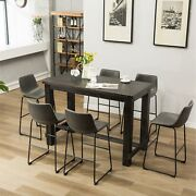 Lotusville 7-pc Antique Black Wood Table With Faux Leather