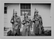 Old Photo Ww2 Us Soldiers Gas Masks Coats Hats Rifles Camp Wolters Texas 1940s
