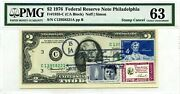 2 Dollars 1976 Stamp Cancel American Credos A. Lincoln And John F. Kennedy 3000