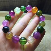 12mm Top Natural Color Tourmaline Crystal Beads Bracelet Aaaa