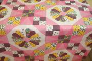 One Quilt Top Cheater Quilt Fabric Calico Dresden Star Pink Yellow 90 W X 130
