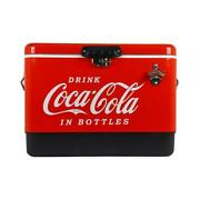 Coca-cola Ice Chest Cooler 2 Handle Stainless Steel Detached Lid 54 Qt. Red