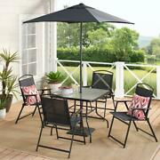 Outdoor Patio Dining Set Umbrella Table Albany Lane Furniture 4 Chairs, Black
