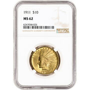 1911 Us Gold 10 Indian Head Eagle - Ngc Ms62