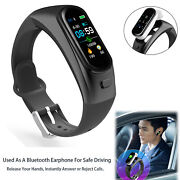 Sports Fitness Tracker Bluetooth Wristband Noise Cancelling Handsfree Calling