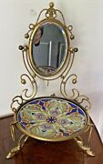 Antique French Pocket Watch Stand/jewelry Holder With Hoof Brass Feet Mirror