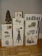 Dept. 56 Lot Snow Village Series Hand Painted Ceramic Collectibles Windmill Cars