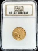 1909 D Gold United States 5 Dollar Indian Head Half Eagle Ngc Mint State 63