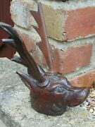 Antique 19th Century Hand Carved Wooden Stag Head Bust Furniture Decoration