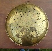 Decorative Hanging Copper Colander Strainer 17 W Punched Floral And Brass Ring