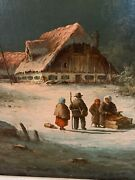 Ludwig Muninger German 1929-1997 Winter Scene With Figures Sled Oil Canvas
