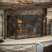 Christopher Knight Home Kingsport Fireplace Screen - N/a Gold Flower On Black N/