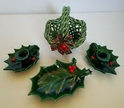 Vtg Lefton Christmas Holly Berry Nut Candy Dish Tray Candle Holder Set And Basket