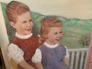 Oil Painting Two Girls Puppet Show George Diamond 1962