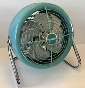 Vintage Dominion Turquoise Blue Table Top Oscilating Fan Retro 60's Industrial