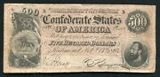 T-64 1864 500 Five Hundred Dollars Csa Confederate States Of America Note Vf