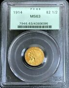1914 Gold Us 2.5 Dollar Indian Head Quarter Eagle Coin Pcgs Mint State 63 Ogh