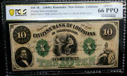 1860and039s Louisiana New Orleans Citizens Bank 10 Pcgs 66 Ppq Gem Unc Rfid Chip