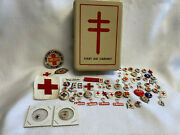Vtg First Aid Red Cross Lot Patches, Pin, Badge Tin