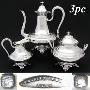 Elegant Antique French Sterling Silver 3pc Coffee Or Tea Set Aesthetic Palmette