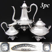 Elegant Antique French Sterling Silver 3pc Coffee Or Tea Set, Aesthetic Palmette