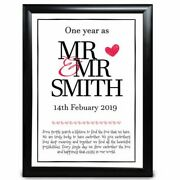 Personalised Anniversary Wedding Gift 1st First One Year As Mr And Mr Engagement
