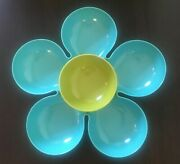 Pier 1 Blue Green Retro Floral Flower Power Groovy Chip And Dip Salsa Bowl