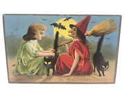 Vintage Cir 1912 Embossed Postcard A Halloween Party Witch Bat Used W/ 1¢stamp