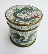 Chinese Cloisonne Enamel Covered Round Box With Removable Lid - Dragon Design