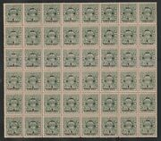 India Cochin 1943, 3p On 4p Sg062 Mnh Complete Sheet Of 48 Stamps Rare.