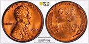 1954 1c Rd Lincoln Wheat One Cent Pcgs Ms66+rd        39552094