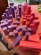 Verdes Toys Soft And Safe Wood Foam Building Blocks Purple Pink Lot Of 70 Play