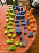 Verdes Toys Soft And Safe Wood Foam Building Blocks Blue And Green Lot Of 60 Play