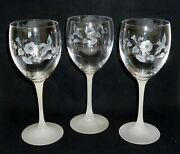 3 Pcs Avon Hummingbird Crystal Water Goblets Wine Glasses 8-1/4 Frosted Stems