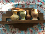 Antique Indian Design Shelf With 4 Authentic Indian Pottery South Western Decor