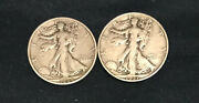 1934-s, 1937-s. Lot Of Two 2 Walking Liberty Silver Half Dollars