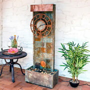 Sunnydaze Slate Clock Indoor-outdoor Water Fountain 49 Water Feature W/ Led