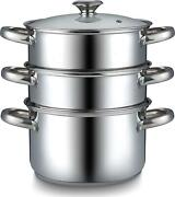 Double Boiler Stainless Steel Saucepan Steamer 4 Quart Silver With Glass Lid