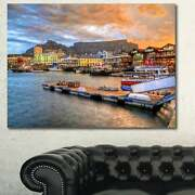 Designart And039cape Town Waterfront At Sunsetand039 Modern Landscape Small